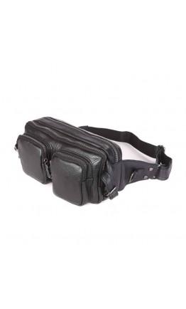 Черная кожаная мужская сумка на пояс 77352A