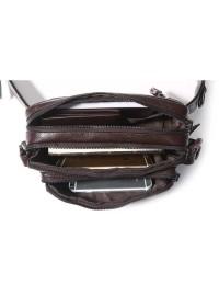 Коричневая кожаная мужская сумка на пояс 77353Q