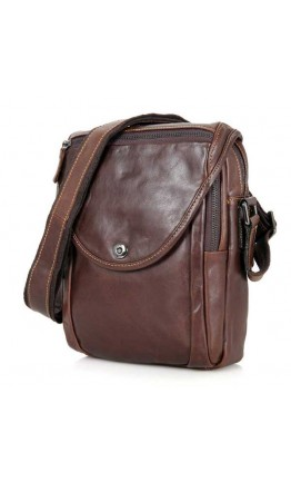Мужская коричневая кожаная плечевая сумка 77354