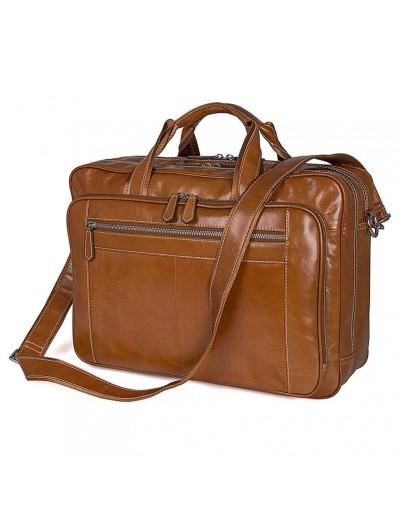 Фотография Кожаная мужская большая сумка, рыжий цвет 77380B