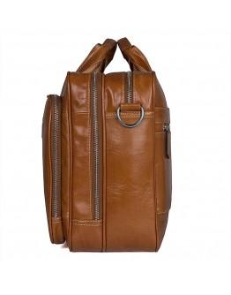 Кожаная мужская большая сумка, рыжий цвет 77380B