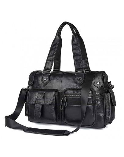 Фотография Черная мужская кожаная сумка 77384A