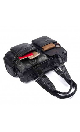 Черная мужская кожаная сумка 77384A