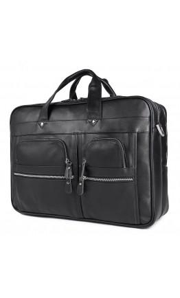 Большая мужская кожаная черная сумка для командировок 77387A