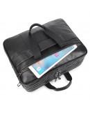 Фотография Большая мужская кожаная черная сумка для командировок 77387A