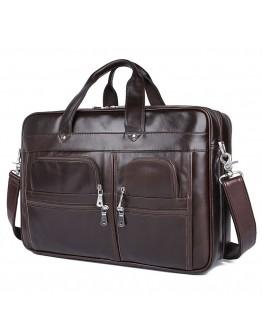 Мужской коричневый вместительный портфель 77387C-1