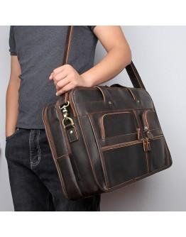 Темно-коричневый вместительный кожаный мужской портфель 77387R-1