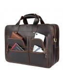 Фотография Темно-коричневый вместительный кожаный мужской портфель 77387R-1