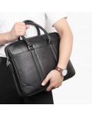 Фотография Черная мужская деловая кожаная сумка 77400A