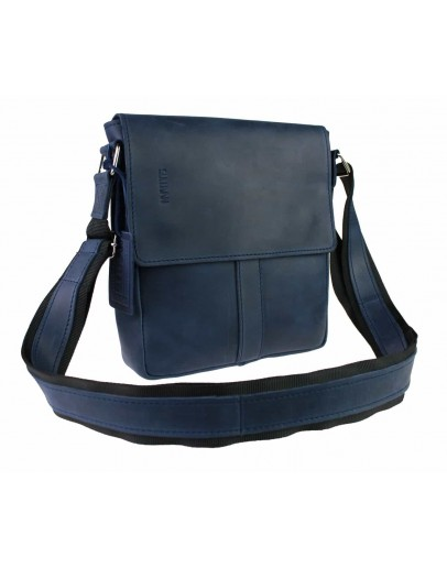 Фотография Кожаная синяя мужская небольшая сумка на плечо 77425-SKE