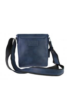 Кожаная синяя мужская небольшая сумка на плечо 77425-SKE