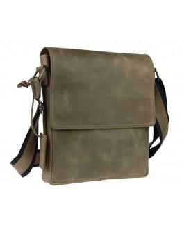 Кожаная мужская сумка на плечо оливкового цвета 77540-SKE