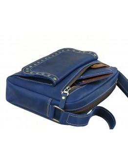 Синяя женская кожаная сумка на плечо 77709-SGE