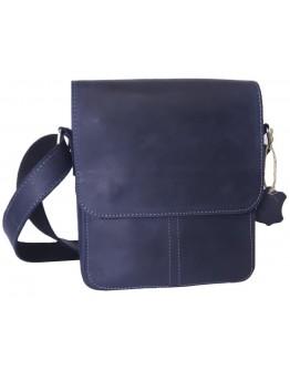 Синяя плечевая кожаная мужская сумка 777421-SGE