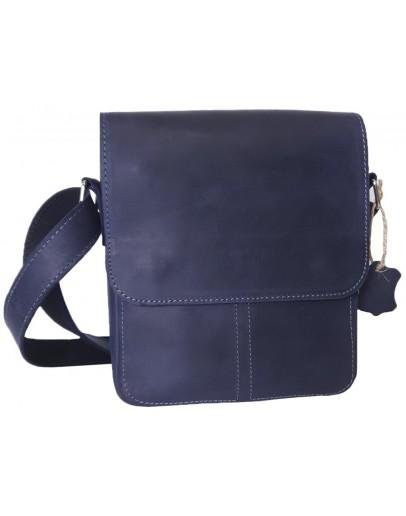 Фотография Синяя плечевая кожаная мужская сумка 777421-SGE