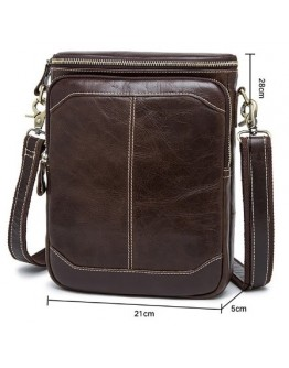 Коричневый кожаный мужской мессенджер на плечо 78003