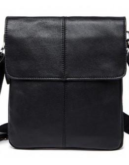 Черная мужская сумка кожаная через плечо 78005A