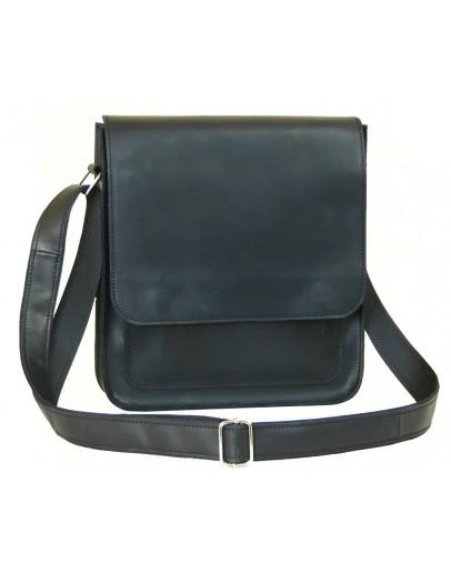 Фотография Вместительная мужская черная сумка из кожи 78008-SGE