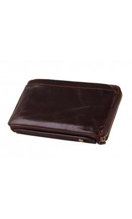 Кожаная коричневая мужская удобная барсетка - клатч 78039-3