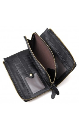Мужской клатч, черный кожаный 78048a-1