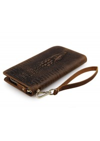 Мужской коричневый кожаный клатч, с тиснением 78068R-1