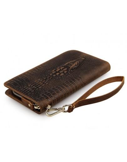 Фотография Мужской коричневый кожаный клатч, с тиснением 78068R-1