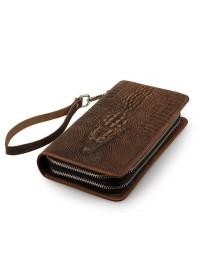 Кожаный мужской клатч, стиснением коричневый 78070R-1