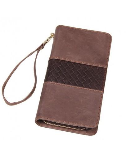 Фотография Мужской серо-коричневый клатч с плетением 78070R