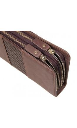 Мужской серо-коричневый клатч с плетением 78070R