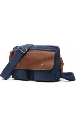 Мужская тканево-кожаная сумка на плечо синяя 78112blue