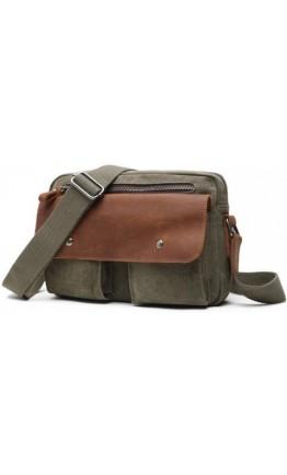 Мужская тканево-кожаная сумка на плечо хаки 78112green