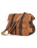 Фотография Коричневая тканевая сумка, прочный канвас 79002B