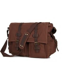Мужская сумка для ноутбука, тканевая коричневая 79005C