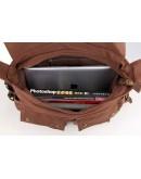 Фотография Мужская сумка для ноутбука, тканевая коричневая 79005C