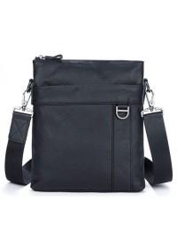 Черная мужская сумка кожаная на плечо 79010a