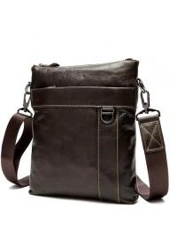 Коричневая мужская сумка кожаная на плечо 79010c
