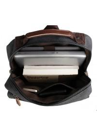 Вместительный чёрный мужской рюкзак из парусины 79022A
