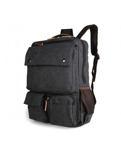 Фотография Вместительный чёрный мужской рюкзак из парусины 79022A