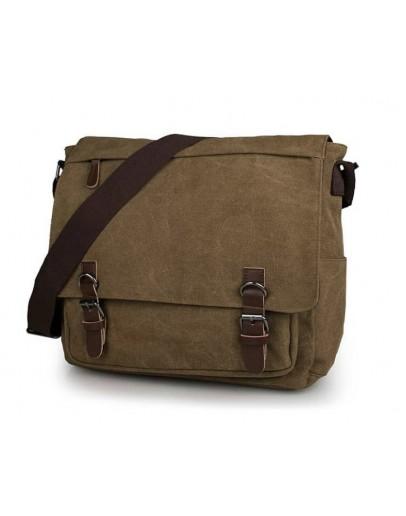 Фотография Тканевая большая коричневая сумка на плечо 79027c