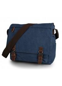 Мужская синяя тканевая сумка на плечо 79027k