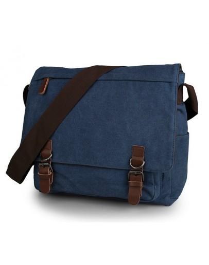 Фотография Мужская синяя тканевая сумка на плечо 79027k