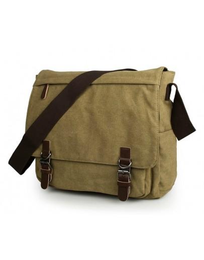 Фотография Большая тканевая сумка на плечо цвета хаки 79027n