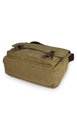 Большая тканевая сумка на плечо цвета хаки 79027n