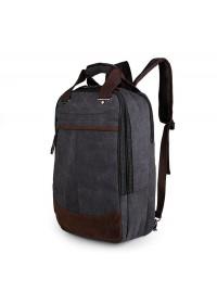 Мужской рюкзак тканевый, с коричневыми вставками 79028A