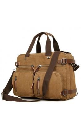 Коричневая сумка рюкзак тканевая, под ноутбук 17 79030C2