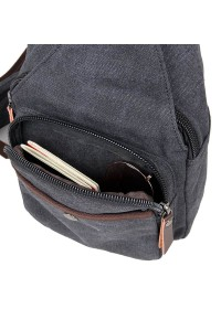 Черная практичная сумка мужская рюкзак из ткани 79033A