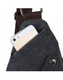 Фотография Черная практичная сумка мужская рюкзак из ткани 79033A