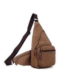 Коричневая практичная сумка мужская рюкзак из ткани 79033C