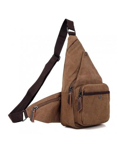 Фотография Коричневая практичная сумка мужская рюкзак из ткани 79033C