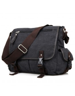Мужская тканевая сумка на плечо чёрная 79035a